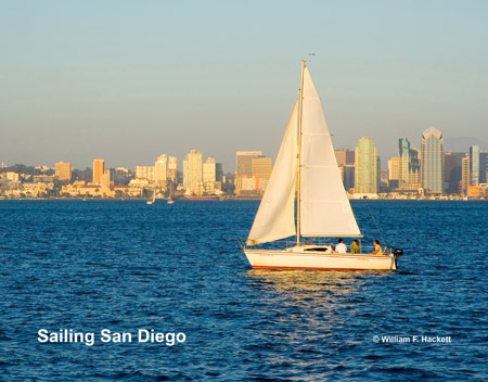 Sailboat on San Diego Bay with Skyscrapers in the background